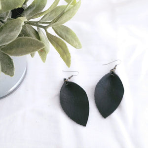 Black / Leather Leaf Earrings / Medium Earrings / 2.5 x 1.25""