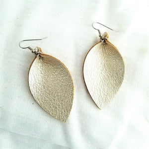 "Leather Leaf Earrings / Champagne Metallic / Cream Metallic / Medium / 2.5""x1.25"""