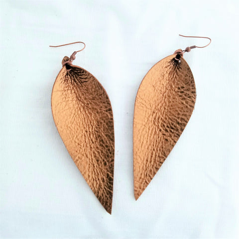 "Metallic Bronze / Leather Leaf Earrings / Long Leaves /3.5""x1.25"""