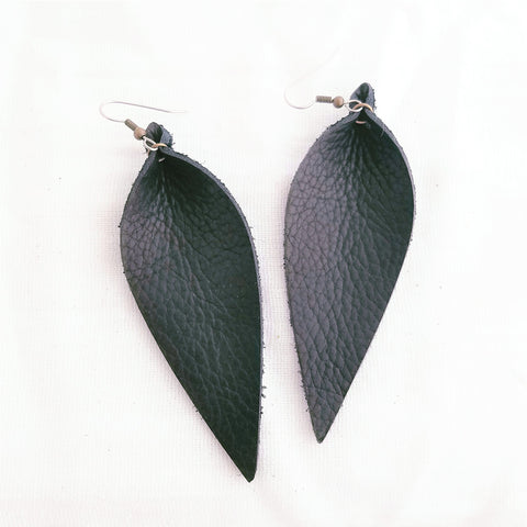 Genuine Leather Earrings / Black Earrings / Leather Leaf / Long / 3.5x1.25""