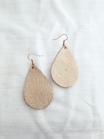 Rose Gold Leather Earrings / Leather Teardrop Earrings / Metallic Leather Earrings / Joanna Gaines