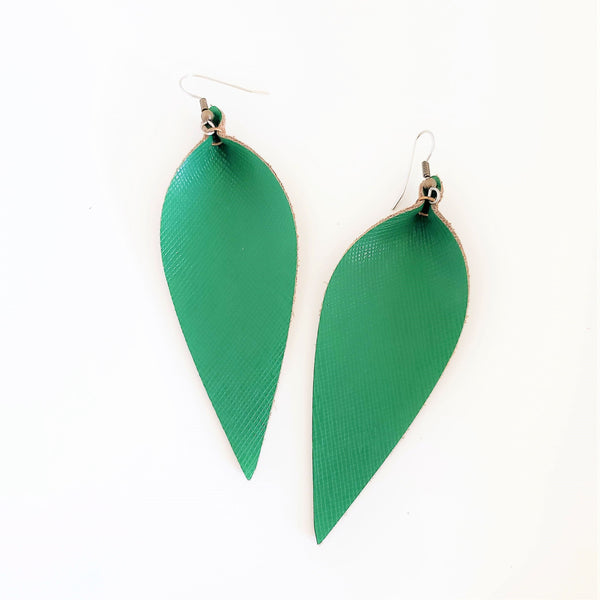 Green Leather Earrings / Classic Green / Leather Leaf Earrings / Feather Earrings / Large Earrings