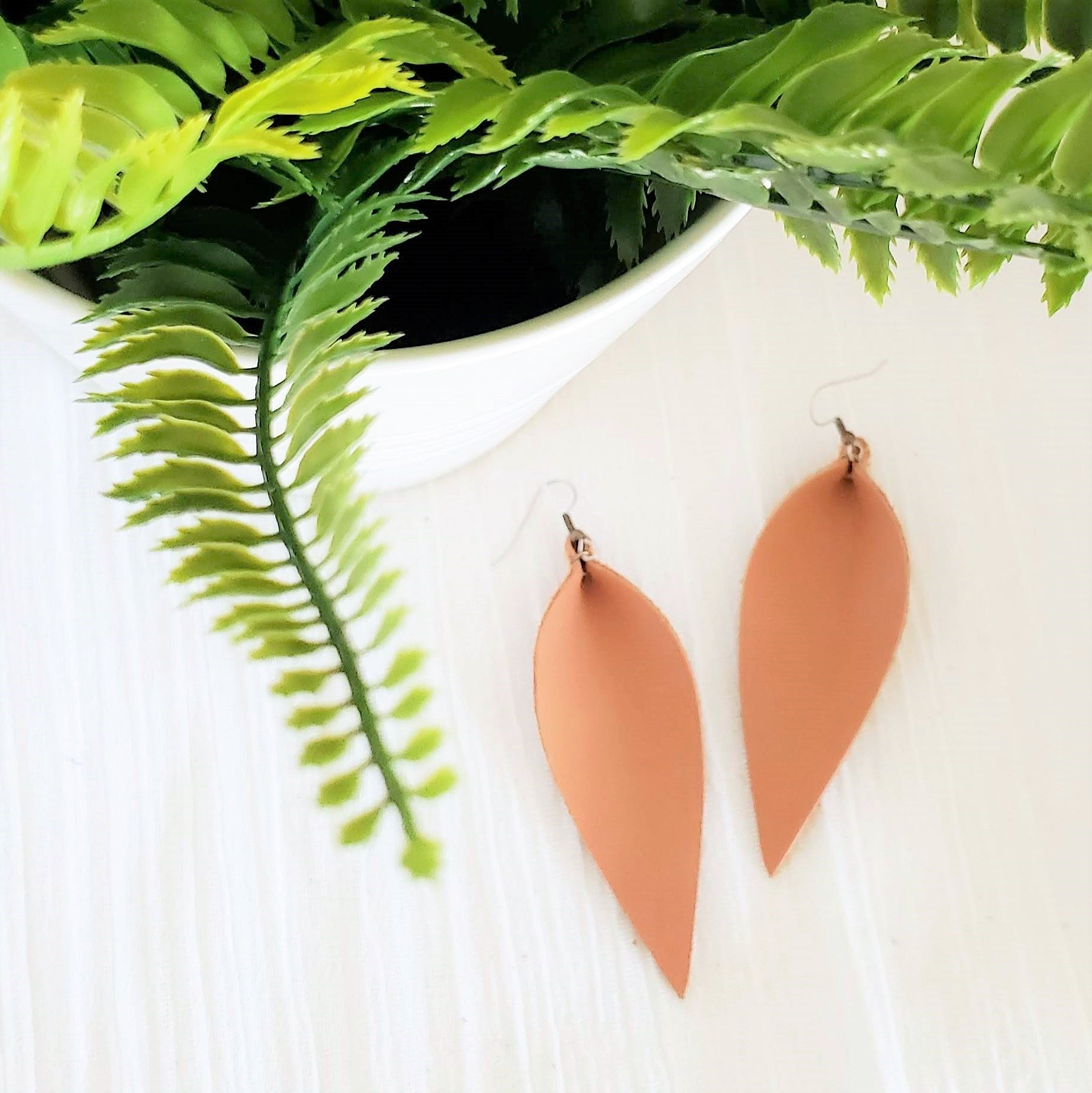 Leather Leaf Earrings / Tan / Camel Brown / Long / 3.5x1.25""