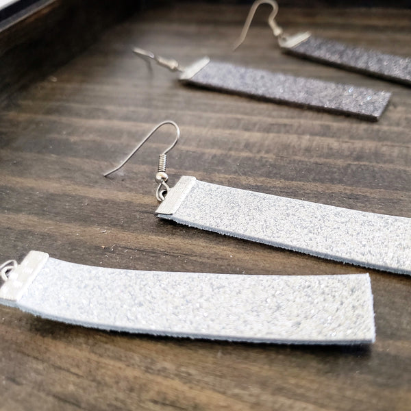 Silver Glitter / Leather Bar Earrings / Medium / 2.5 x .5""