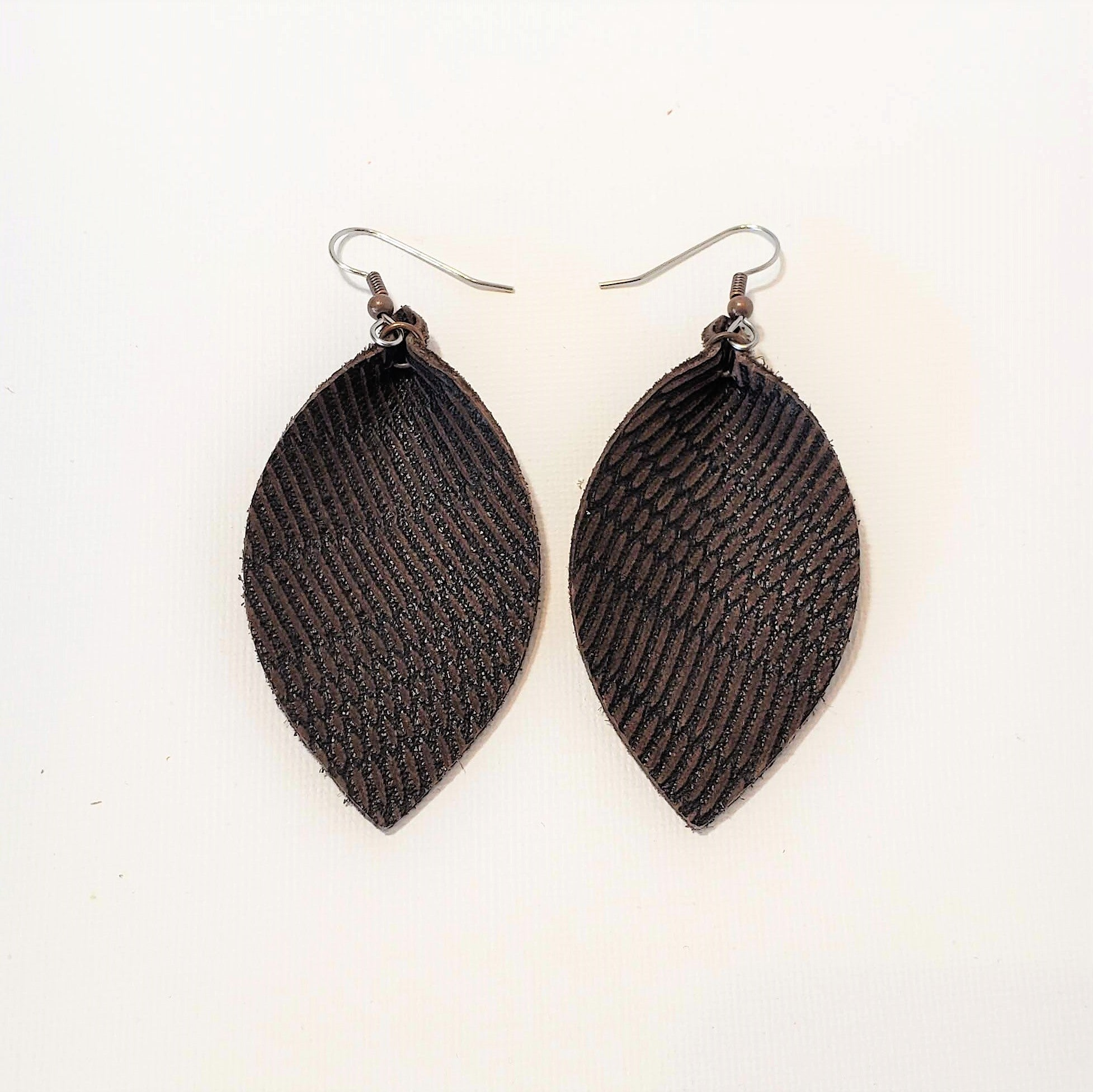 Dark Brown Feather / Leather Leaf Earrings / Joanna Gaines Earrings / Magnolia / Statement Earrings