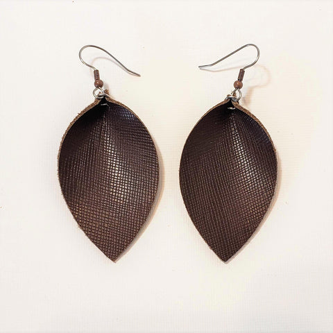 Chocolate Brown / Leather Leaf Earrings / Joanna Gaines Earrings / Statement Earrings