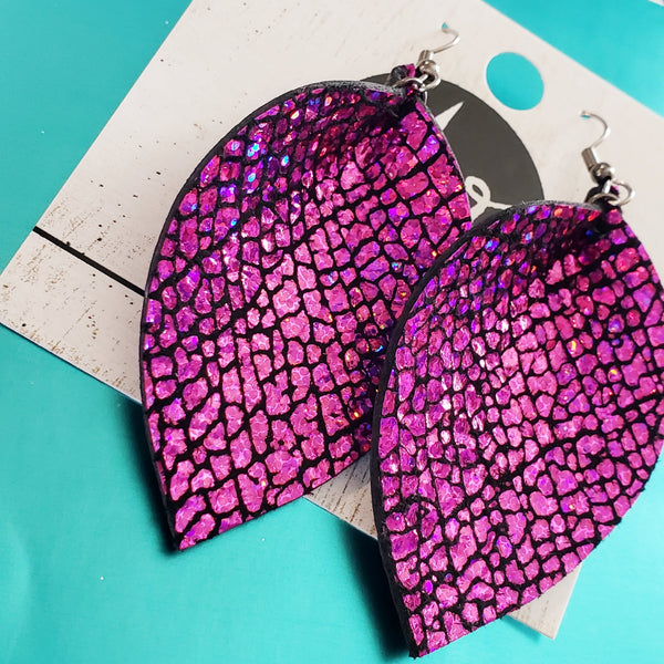 Leather Leaf Earrings / Party Pink / Kayla Collection / Sparkle Rhinestone Metallic Shimmer Earrings