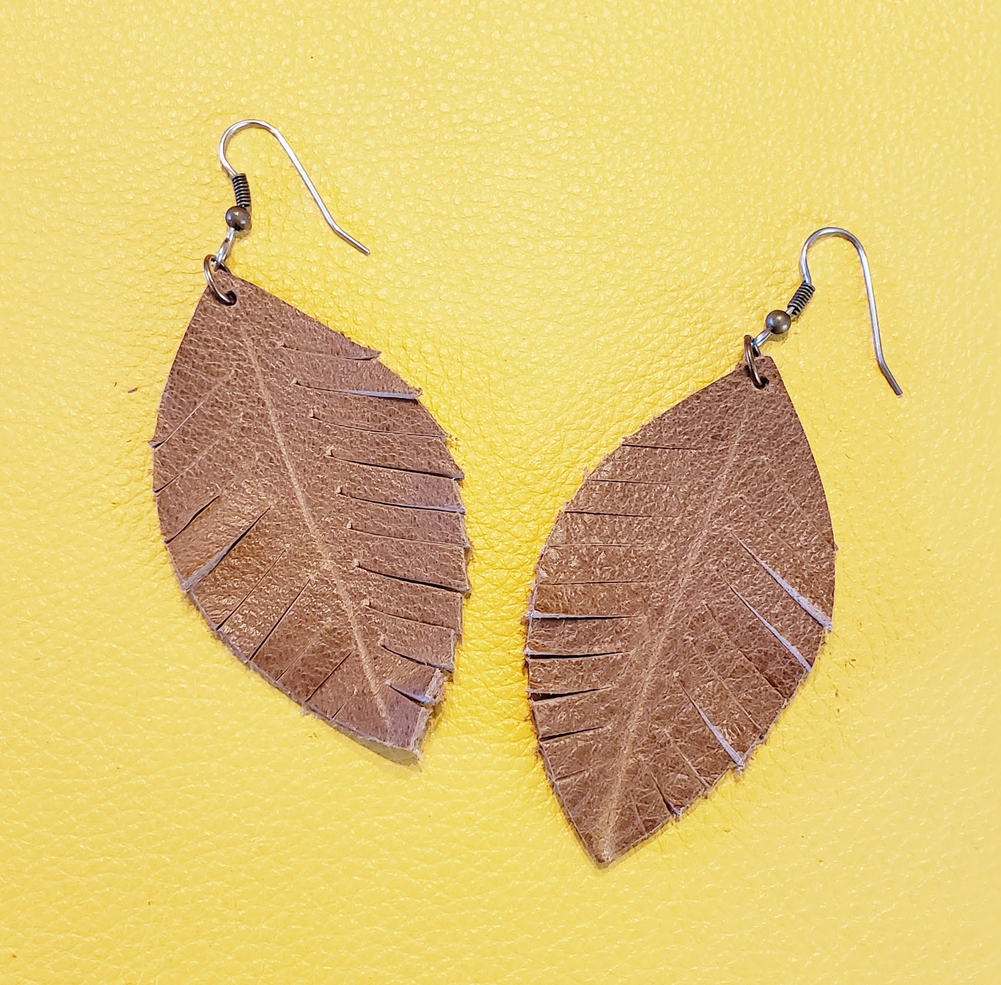 Rustic Brown Leather Earrings / Fringed Leaf Earrings / Boho Earrings / Joanna Gaines Jewelry