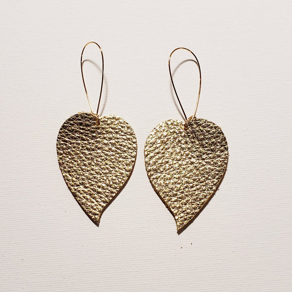 Gold / Leather Drop Leaf Earrings / Duchess Collection / Meghan Markle / Medium / 2 x 1.5""