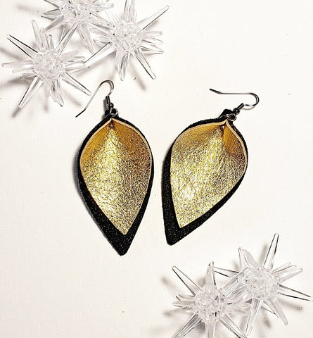 "Holiday Gala Gold / Leather Petal Earrings / Layered / Medium / 2.5 x 1.5"" / FREE SHIPPING"