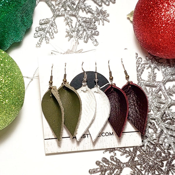 "Leather Earrings / Multi-Pack / Leaf / Small / 1.75 x 1"" / Olive, Blackberry, White / FREE SHIPPING"