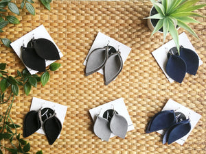 Black Suede Leather Leaf Earrings / Joanna Gaines / Statement Earrings