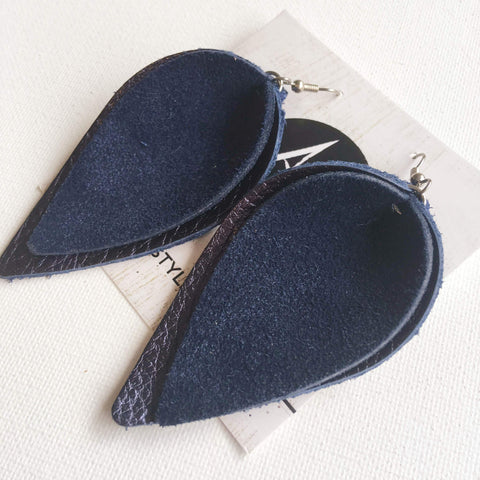 Navy Suede/ Genuine Leather Earrings/ Layered Petal/ 2019 Suede Collection/ Large/ 3 x 1.75""
