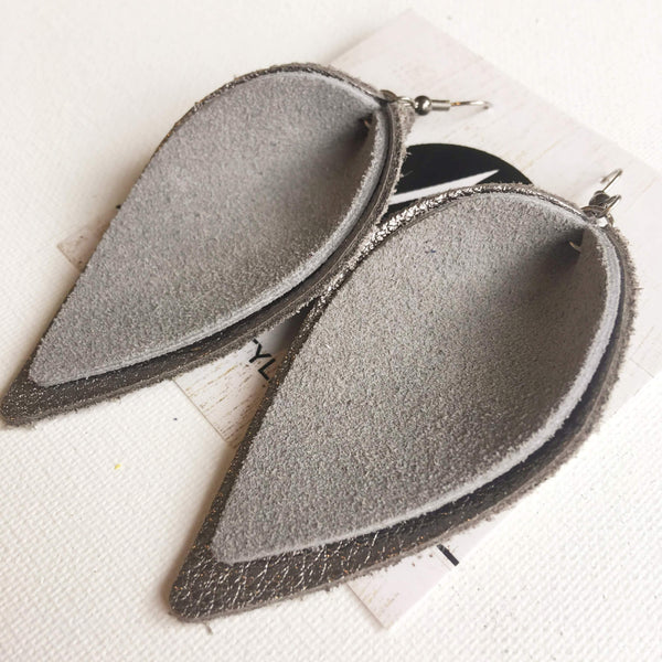 Gray Suede/ Genuine Leather Earrings/ Layered Petal/ 2019 Suede Collection/ Large/ 3 x 1.75""