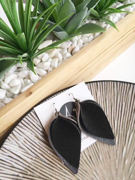 Black Suede/ Genuine Leather/ Layered Petal Earrings/ 2019 Suede Collection / Large/ 3 x 1.75""