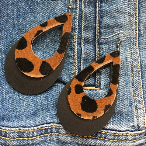 Genuine Leather Teardrop Earrings / Cheetah Hair & Black / Animal Print Earrings / Aella V Jewelry