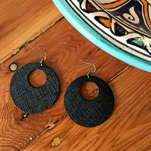 "Textured Black Circle Cutout Leather Earrings / Genuine Leather / 2 x 2""/ AellaVJewelry"