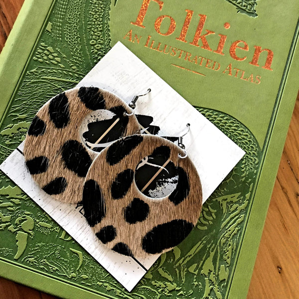 "Cheetah Hair / Circle Cutout Leather Earrings / Genuine Leather / 2 x 2""/ AellaVJewelry"