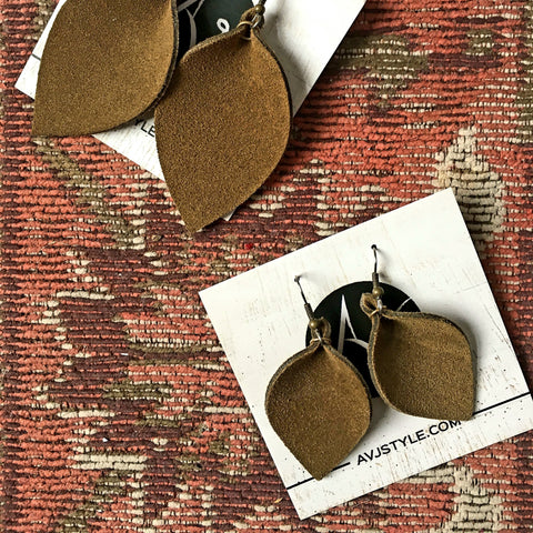 Brown Suede Earrings / Leather Leaf Earrings / Joanna Gaines Style / Statement Earrings