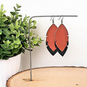 Leather Feather Leaf Earrings / Black & Brown / Joanna Gaines / 3 x 1.25""