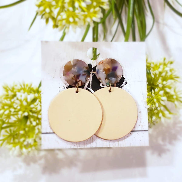 Acrylic & Leather Disc Earrings / Garden Party / Nude Earrings / Large / 2.5 x 1.5""