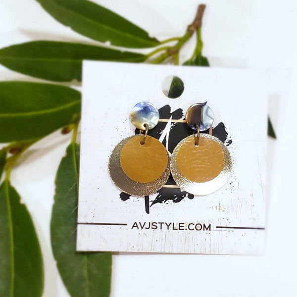 Acrylic & Leather Disc Earrings / Earth / Metallic Sand / Medium Earrings / 1.5 x 1""