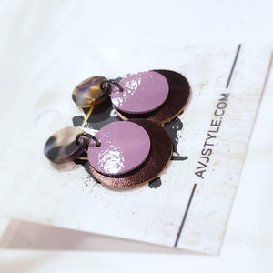 Acrylic & Leather Disc Earrings / Garden Party / Metallic Eggplant / Lilac / 1.5 x 1""