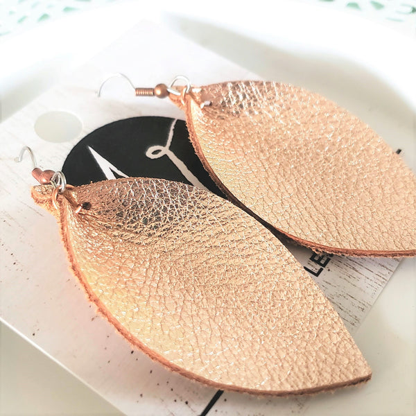 Rose Gold Metallic / Leather Leaf Earrings / Petal Earrings / Medium / 2.5 x 1.25""