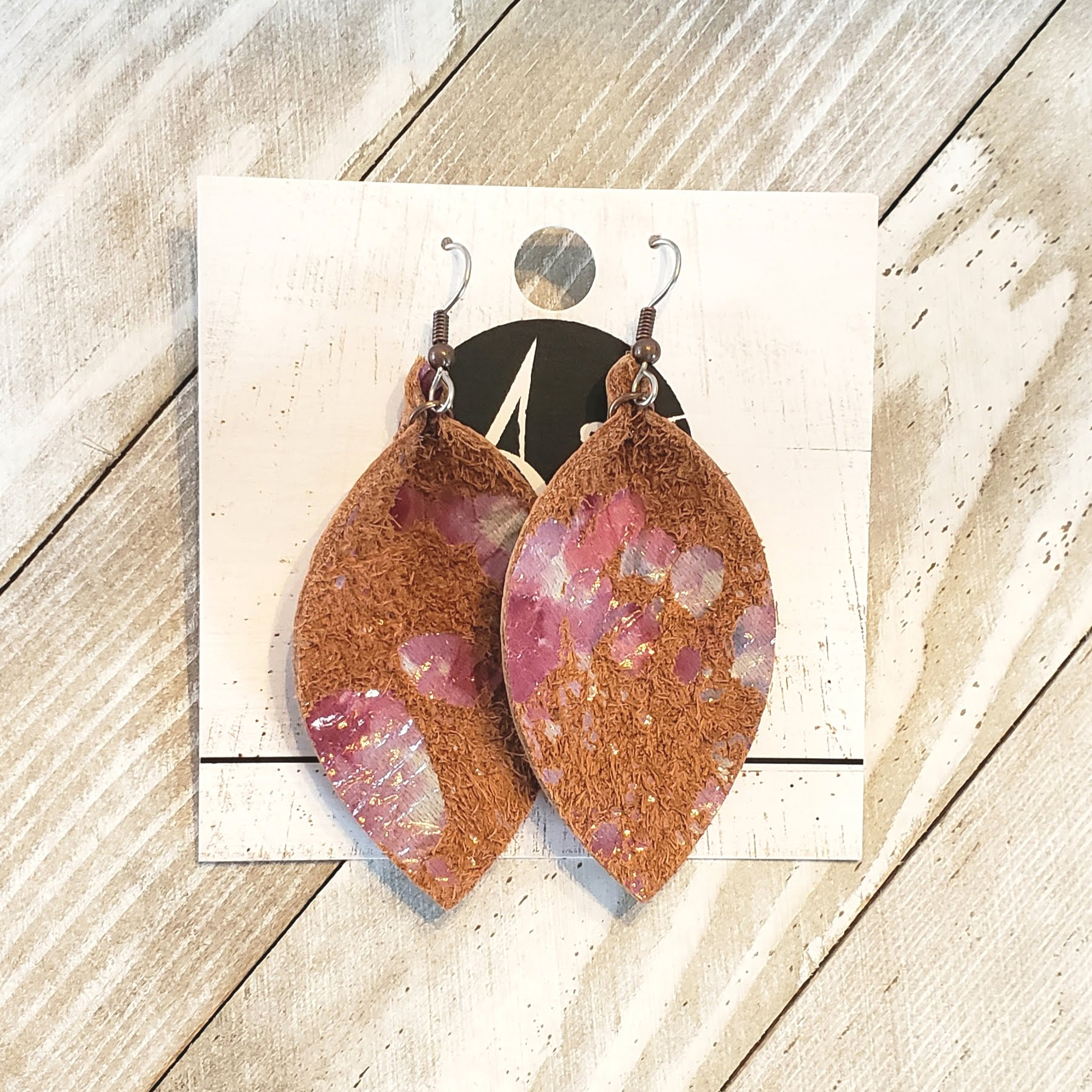 Pressed Petals / Leather Earrings / Statement Earrings / Medium / 2.5 x 1.25""