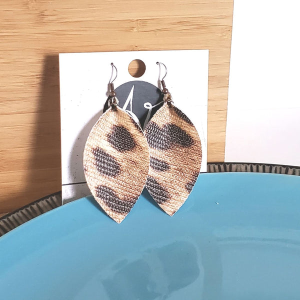 Classic Cheetah Earrings / Leather Leaf Earrings / Animal Print / Joanna Gaines / Medium
