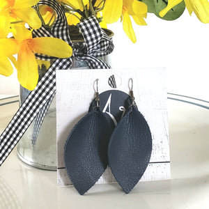 Navy Blue Earrings / Leather Leaf Earrings / Statement Earrings / Joanna Gaines / Medium