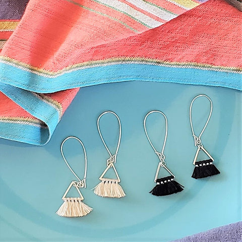Triangle Fan Tassel Earrings, Black or Natural White / Small Tassel Earrings