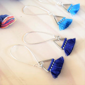 Triangle Fan Tassel Earrings / Blue or Dark Royal Blue / Small Tassel Earrings