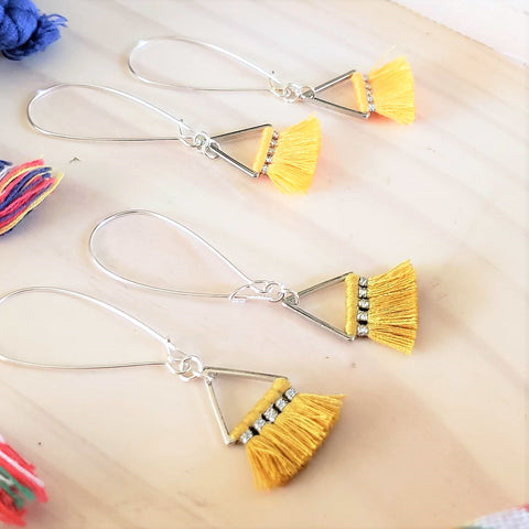 Triangle Fan Tassel Earrings / Lemon or Sunflower Yellow / Small Tassel Earrings