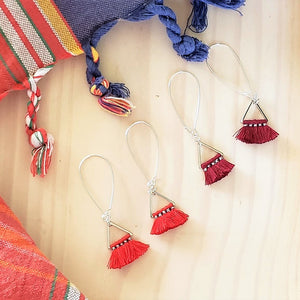 Triangle Fan Tassel Earrings / Red or Burgundy Red / Small Tassel Earrings