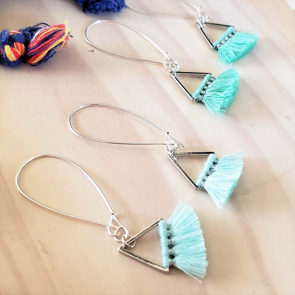 Triangle Fan Tassel Earrings / Mint Green or Baby Blue / Small Tassel Earrings