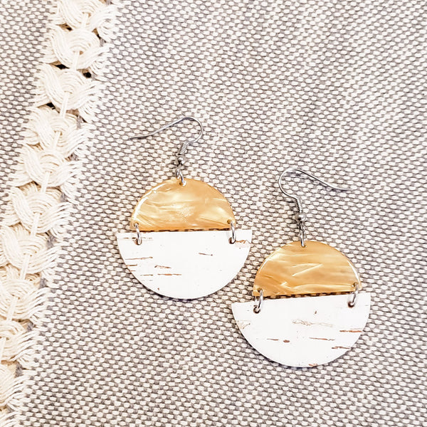 Geometric Leather, Cork & Acrylic Resin Statement Earrings, Semi-Circle, Marbled Honeycomb