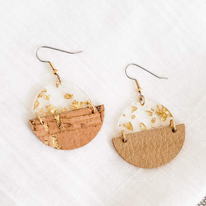 Geometric Leather, Cork & Acrylic Resin Statement Earrings, Semi-Circle, Natural Cork & Gold
