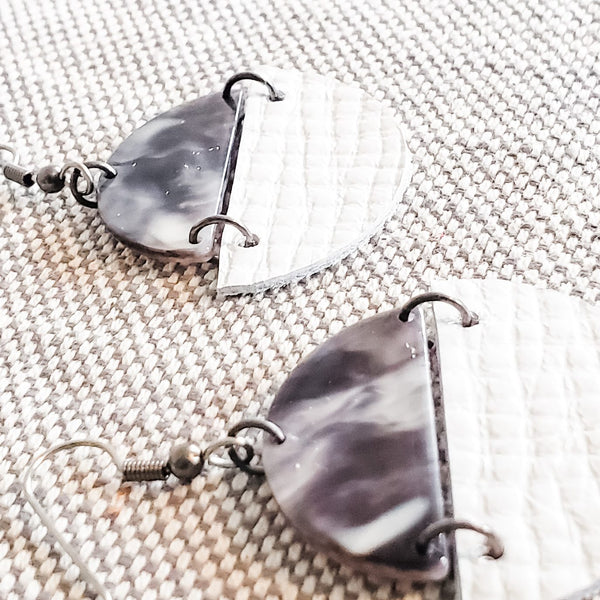 Geometric Leather & Acrylic Resin Statement Earrings, Semi-Circle, Marbled Charcoal / White