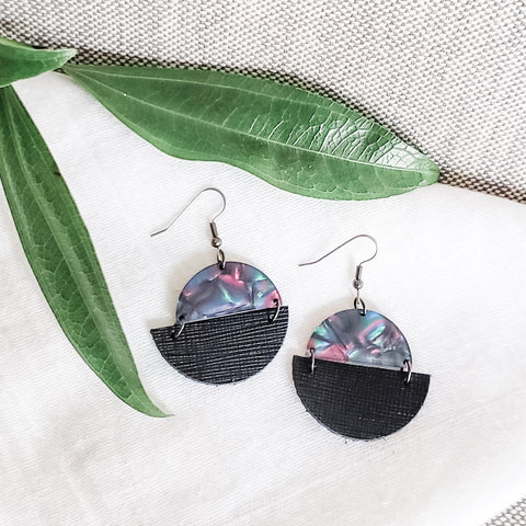 Geometric Leather & Acrylic Resin Statement Earrings, Semi-Circle, Black Rainbow