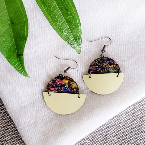 Geometric Leather & Acrylic Resin Statement Earrings, Semi-Circle, Abalone & Yellow