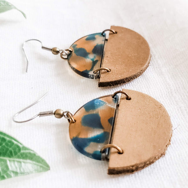 Geometric Leather & Acrylic Resin Statement Earrings, Semi-Circle, Teal & Tan