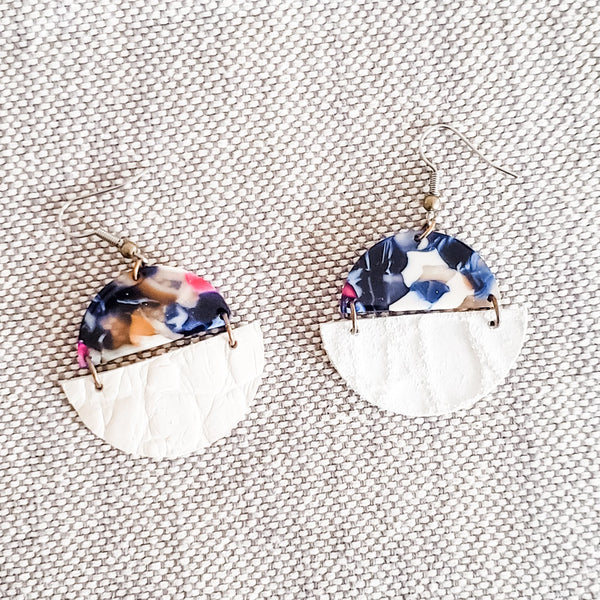 Geometric Leather & Acrylic Resin Statement Earrings, Semi-Circle, English Garden