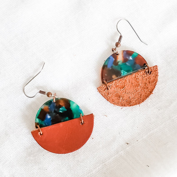 Geometric Leather & Acrylic Resin Statement Earrings, Semi-Circle, Copper / Green Lagoon
