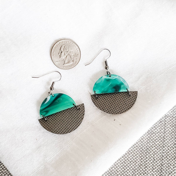 Geometric Leather & Acrylic Resin Statement Earrings, Semi-Circle, Marbled Emerald Titianium