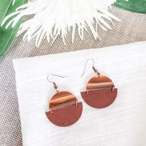 Geometric Leather & Acrylic Resin Statement Earrings, Semi-Circle, Brown & Cream