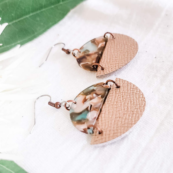 Geometric Leather & Acrylic Resin Statement Earrings, Semi-Circle, Rose Gold / River Rock
