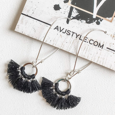 Small Hoop Fan Tassel Earrings, Black Earrings, Tassel Jewelry, 2.25 x .75""