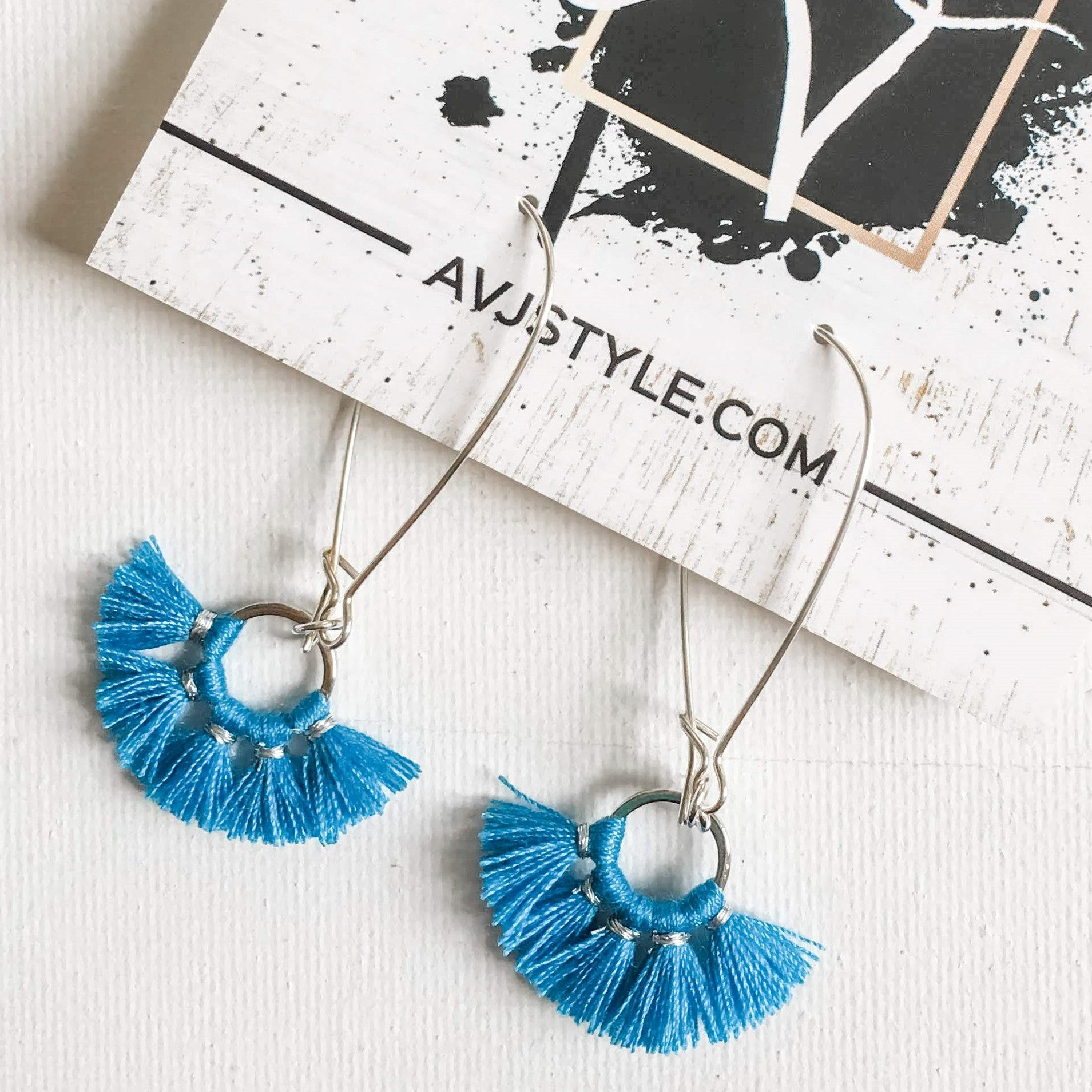 Small Hoop Fan Tassel Earrings, Blue Earrings, 2.25 x .75""