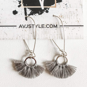 Small Hoop Fan Tassel Earrings, Gray Earrings, Tassel Jewelry, 2.25 x .75""